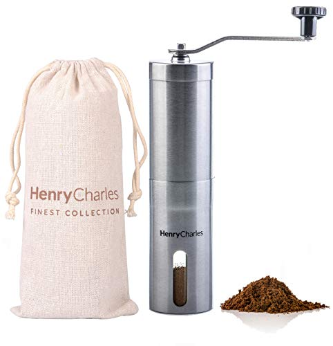 Manual Coffee Grinder | Henry Charles Finest Collection | Brushed Stainless Steel with Adjustable Ceramic Grinder | Portable Size with Travel Pouch Perfect for The Home Office or Travelling