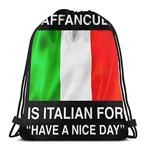 Vaffanculo Beutel mit Kordelzug, italienischer Stil, für einen schönen Tag, Unisex, Kordelzug, Sporttasche, große Tasche, Kordelzug, Tragetasche, Turnrucksack, Bulkware