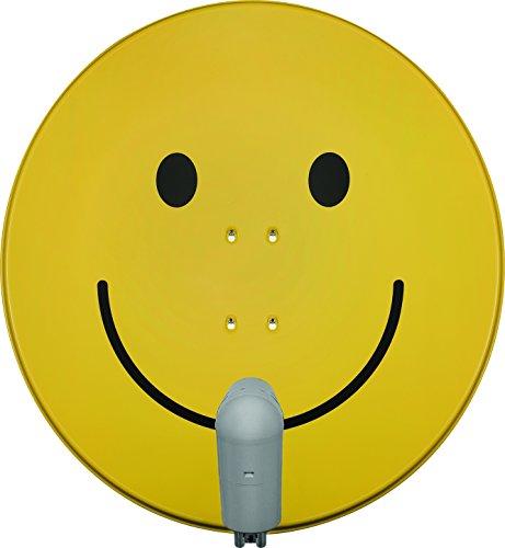 TechniSat SATMAN 850 PLUS – Satellitenschüssel für 4 Teilnehmer (85 cm Sat Spiegel mit Masthalterung und UNYSAT Quattro-Switch LNB im Wetterschutz-Gehäuse) gelb mit Smiley