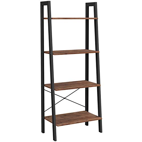 VASAGLE ALINRU Ladder Shelf, 4-Tier Bookshelf, Storage Rack Shelves, Bathroom, Living Room, Industrial Accent Furniture, Steel Frame, Hazelnut Brown and Black ULLS044B03