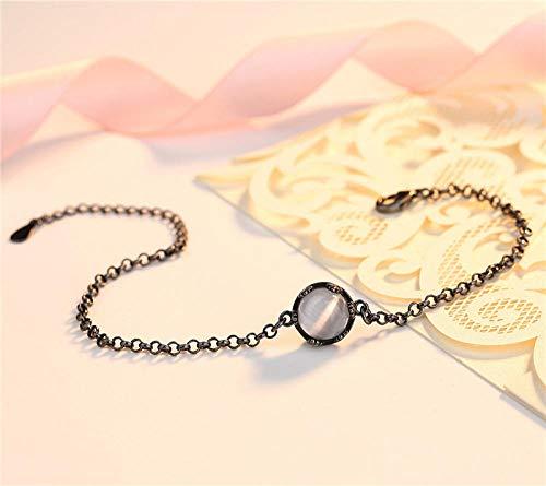 WQZYY&ASDCD Pulseras Brazalete Pulsera De Plata Vintage Pulsera De Cadena Negra De Moda para Mujer Accesorios Redondos para Niña Pink Lady-Negro