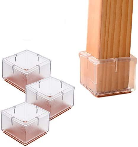 16PCS Transparent Square Chair Leg Wood Floor Protectors Silicone Furniture Chair Legs Caps product image