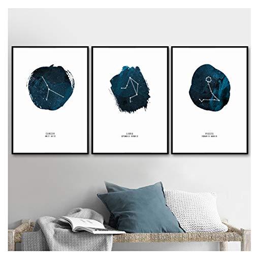 Gohipang sterrenbeeld landschap Nordic posters en prints Wall Art Canvas schilderij kwekerij muur foto's-40X50cmx3 geen ingelijst