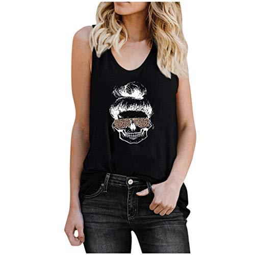 PPangUDing Tank Top T-Shirt Damen Teenager Mädchen Mode Totenkopf Skull Leopard Schulterfrei Sommer Oberteile Sport Kurzarm Shirts Casual Tops Blusen Weste