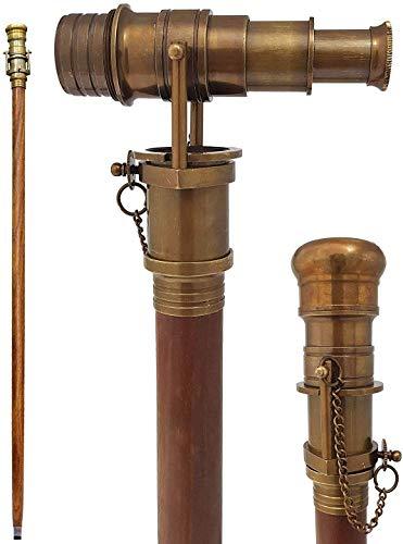 Bastón de latón antiguo con telescopio de tres pliegues