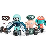 Lydaz Magnetic Robots Toy, Magnetic Blocks Set for Kids STEM DIY Educational Playset Learning Bots Kit, Toddlers Fine Motor Skill Stacking Robots Puzzle Toy Gift for 3 4 5 6 Years Old Boys and Girls