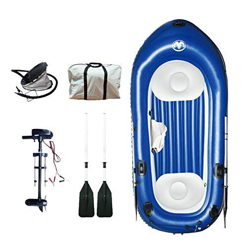 Aufblasbare Kajaks 2+1 Sitze,Kanu Bootsport Schlauchboot Ausgestattet Mit Aufblasbarer Fußpumpe/Elektromotor/Paddel Die Tragfähigkeit Beträgt 255 Kg