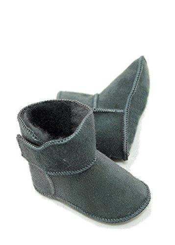 DX-Exclusive Wear Lammfellschuhe Babyschuhe, Stiefel, Klettverschluss, Echt Fell Schuhe Krabeln, Hausschuhe Baby ADB-0001 Madchen, Jungen, Leder (20/21, grau)