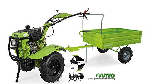 VITO Einachsschlepper mit Anhänger 12PS Diesel Set Motorhacke + Anhänger - E-Starter Motorhacke Direktantrieb - Pflug + Bodenfräse 135cm Arbeitsbreite