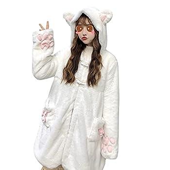 Women Cute Bunny Hoodie Top Girls Kawaii Long Ear Fuzzy Rabbit Sweatshirt Sweater Jacket Long Sleeve Fluffy Coat  White Cat M