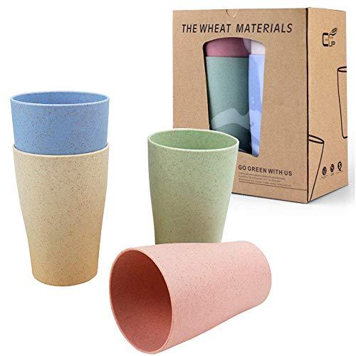 LEZED Juego de Tazas de Vajilla de Paja de Trigo Vaso Taza Biodegradable Paja de Trigo para Agua Café Jugo de Leche Té Tazas de Enjuague 400 ml (Pack de 4, Verde, Azul, Rosa, Amarillo)