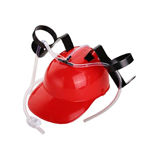 NaisiCore Guzzler Trinken Helm Dosenhalter Trinker-Hut-Kappe mit Stroh für Bier Soda-Party-Spaß Getränke Gadgets (rot)