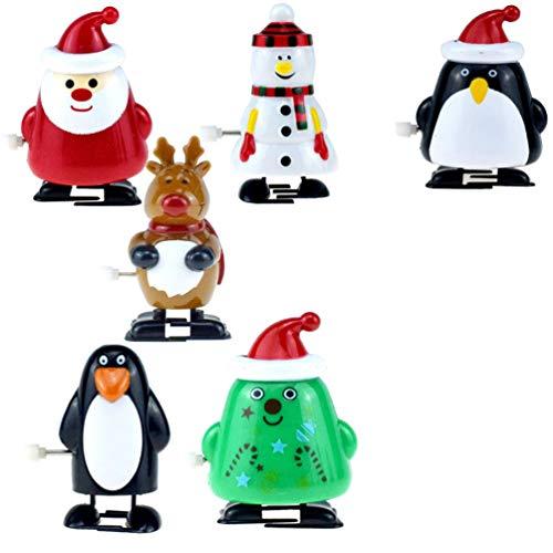 NUOBESTY 6 Stück Weihnachten Aufziehspielzeug Weihnachtsmann Baum Schneemann Rentier Pinguin Figur Ornament Weihnachten Aufziehfigur für Kinder Weinachten Party Favor Gastgeschenke