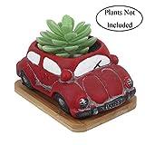 Pot de fleurs Gemseek mignon pour voiture avec plateau de drainage en bambou, cactus...