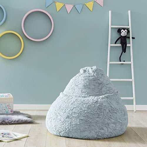 Lumaland Fluffy Sitzsack stylischer Webplüsch Beanbag 120L Füllung Pastel Blau