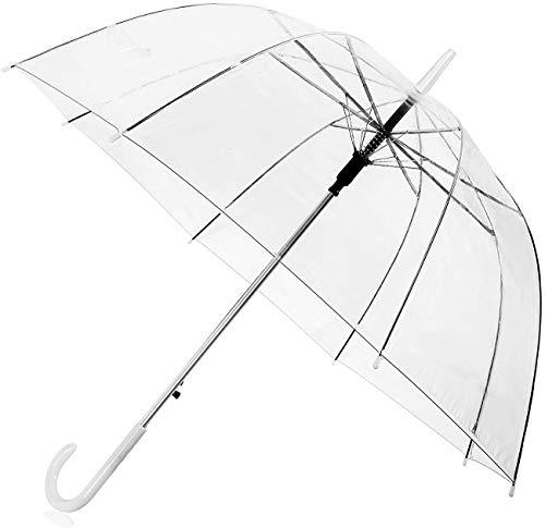 CTLYA Transparenter Regenschirm (Windfest bis zu 140 km/h), Glockenschirm, Automatischer durchsichtiger Regenschirm mit C-Griff
