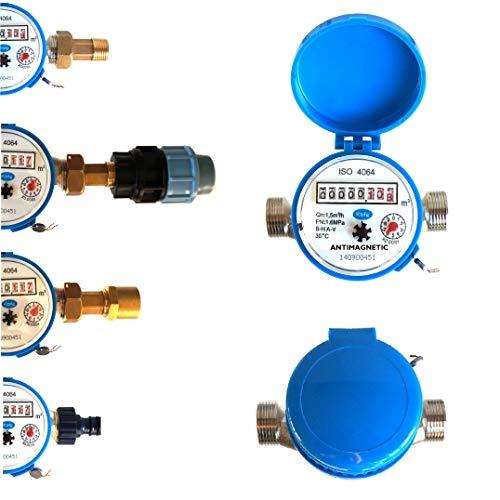Contador de agua flow - agua fría casa jardín 1,5 m³ / h
