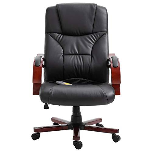 vidaXL Kantoorstoel Kunstleer Zwart Bureaustoel Computerstoel Kantoorstoelen