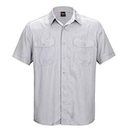 EXCELLENT ELITE SPANKER Men's 100% Pure Silk Shirt Regular Fit Short Sleeves Camp Shirt(LGY-M) Light Grey