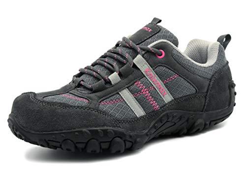 Zapatillas Trekking para Mujer, Zapatos de Senderismo Calzado Trekking Escalada Ligeros Cómodos y Transpirables Outdoor Zapatos Low-Top Antideslizante Zapatos de Deporte EU38 (UK5) Gris