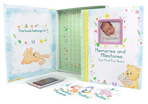 Keepsake Artistry 5 Year Baby Memory Book-Decorative Box-Clean Ink Pad -Monthly Anniversary Stickers-Keepsake Envelope-Boy-Girl Gender Neutral – Designed for All families-96-page Watercolor