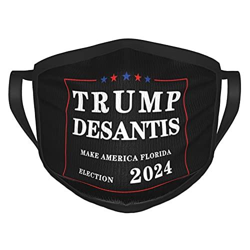 Trump Desantis Make America Florida, Election 2024 Adult Black Border Mask Unisex Polyester Washable Dustproof Mouth Protection