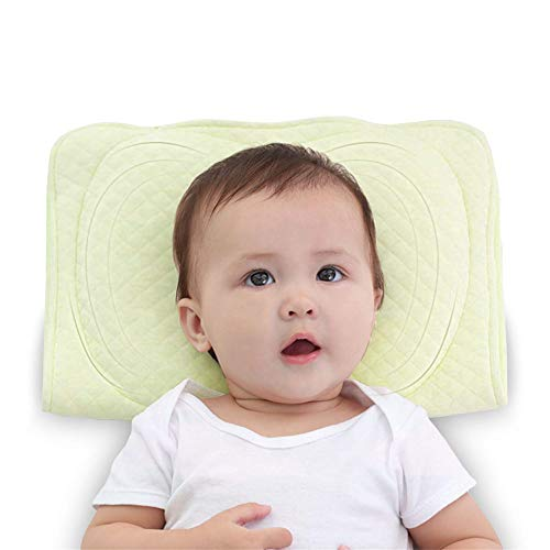 XMWEALTHY Baby Soft Flat Head Shaping Pillows for Newborns Sleeping Memory Latex Support Nursing Pillows Crib Pillows Best Gifts for Baby Girls Boys 0-12M(Green)