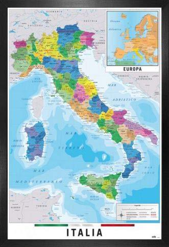 1art1 Mapas Póster con Marco (Madera DM) - Mapa Italia Fisico Politico (91 x 61cm)