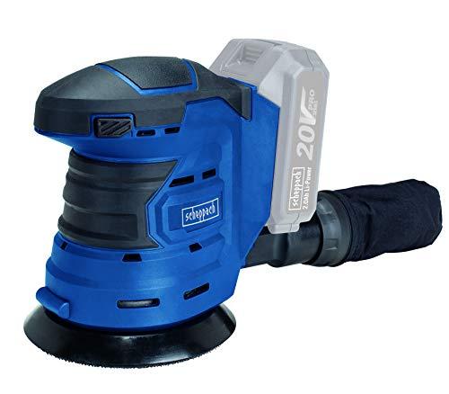 Scheppach COS125-20ProS Akku Exzenterschleifer | 20 Volt | 125 mm Scheibendurchmesser | Einfaches Schleifscheibenwechseln | Grundgerät