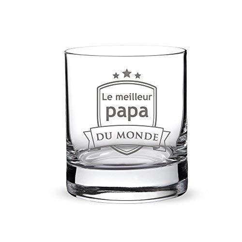 AMAVEL Verre Tumbler Droit de Dégustation pour Whisky, Rhum, Cognac avec Gravure, Blason pour Papa, 320 ML