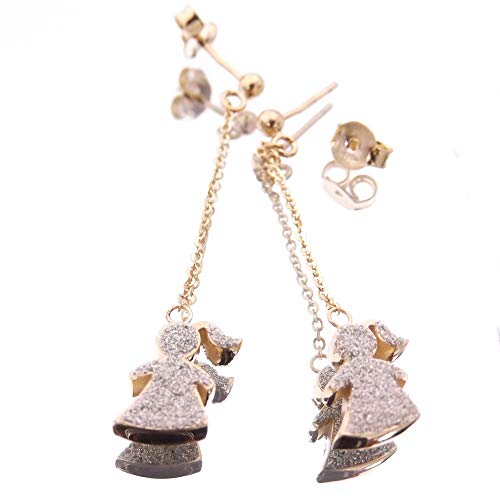 Joyas Aurum – Pendientes largos para niña, niña o bebé, para mujer, de oro con diamante blanco.