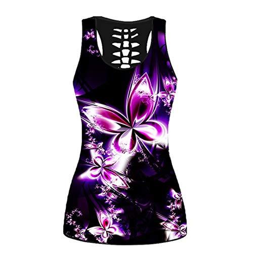 Yowablo Tanktops Frauen Schmetterlingsdruck Ärmelloses Hemd Sommer zurück Aushöhlen Weste Plus Size Top ( S,1Mehrfarbig )