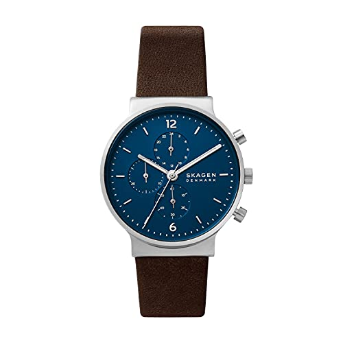 Skagen Men's Ancher Chronograph Brown Eco Leather Watch (Model: SKW6765)