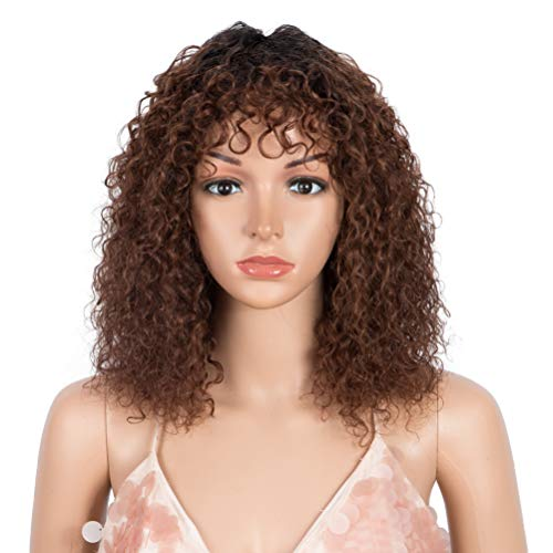 Style Icon 14' Human Hair Afro Wigs Short Curly Wigs for Black Women Wig With Bangs (14 Inches, TT1B/33)