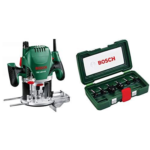 Bosch Oberfräse POF 1400 ACE (1.400 Watt, im Koffer) + 6tlg. Fräser-Set HM (Ø 8 mm)