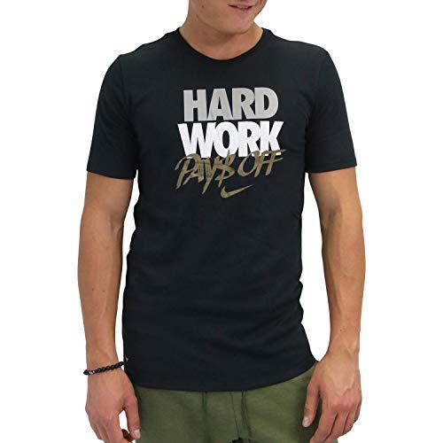 NIKE Hard Work Camiseta, Hombre, Negro, Large