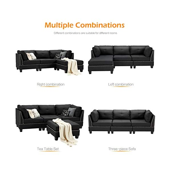 Esright Convertible Sectional Sofa Couch with Ottoman 3