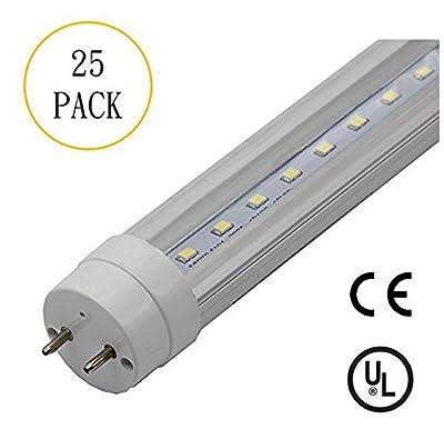25-Pack, T8 LED Tube Light Bulb, 2FT 3FT 4FT, AC 85V-265V, Ballast Bypass, Clear Cover, CE & UL & DLC Certification