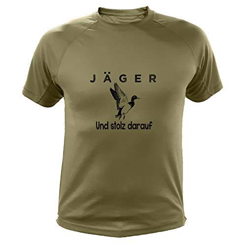 Jagd T Shirt, Jäger und stolz darauf, Ente, Lustiges Geschenk für Jäger (20222, Grun, 12a)