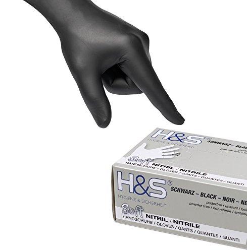 100 Guantes de Nitrilo de ISC H&S, sin polvo, en Small, Medium, Large, y X-Large. Desechables, sin látex, sin polvo, son ideales para manipular alimentos. (S, negro)