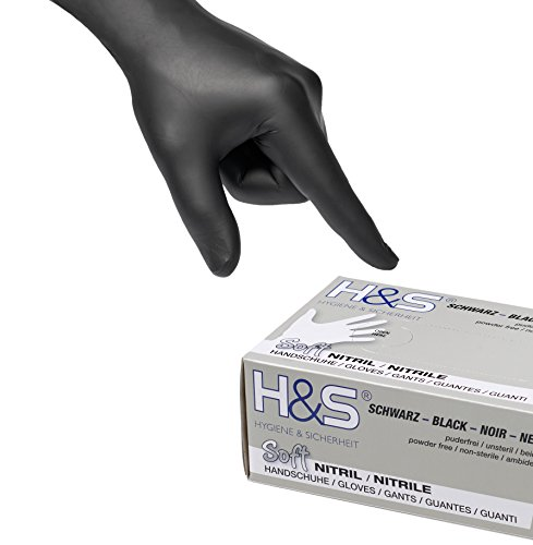 Gants nitrile jetables non poudrés H&S (100 pièces), S Small M Medium L Large XL X-Large, sans latex, convient pour aliments, dermophile et bien tolérée - pour les peaux sensibles (noir, M)