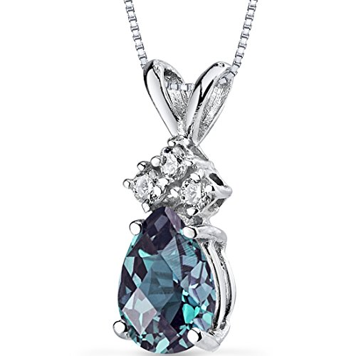 Peora Created Alexandrite with Genuine Diamonds Pendant in 14 Karat White Gold, Dainty Teardrop Solitaire, Pear Shape, 7x5mm, 1 Carat total