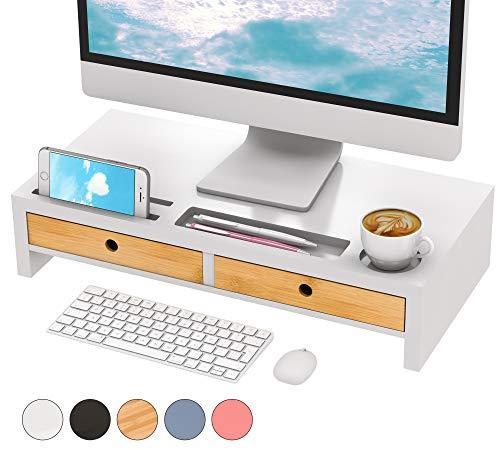 Monitor Riser Stand Desk Shelf - with Drawer Keyboard Storage Stylish White 22' x 10.6' x 4.7'