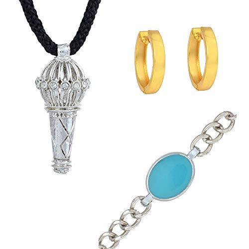 SataanReaper presenta una pulsera de salmán chapada en plata, con colgante y pendientes de aro Bhajan, joyería de moda para hombres y mujeres #SR-2646