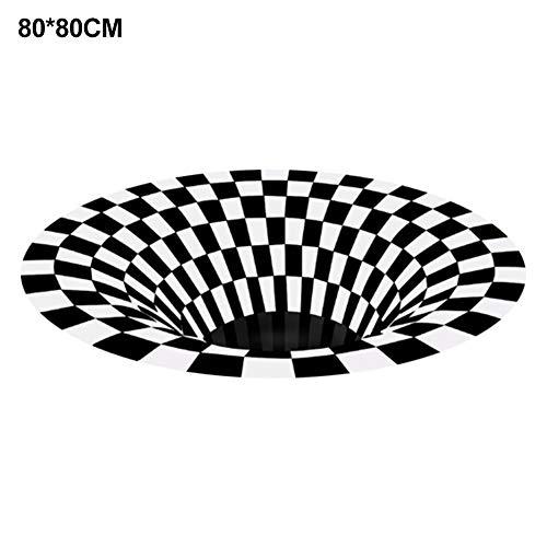 oshidede 3D Visual Illusion Rutschfester Teppich - Runder Polyester Schwarz Weiß Vortex Teppich - Für Wohnzimmer Esszimmer Schlafzimmer