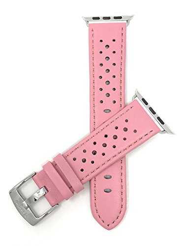 Bandini Ersatzlieferung Uhrenarmband für Apple Watch 42mm, Rosa Leder, Perforiert, Stil Gt Rally