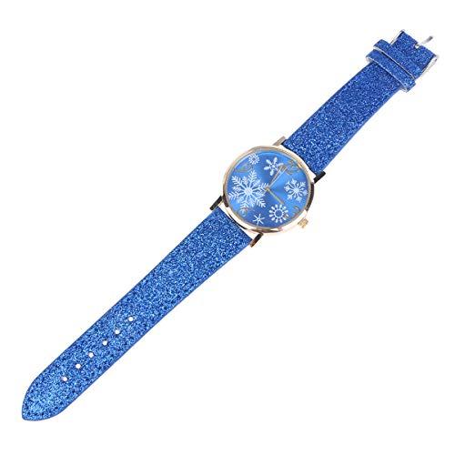 Nicerio Reloj de Pulsera para Mujer, diseño de Copo de Nieve, Color Azul