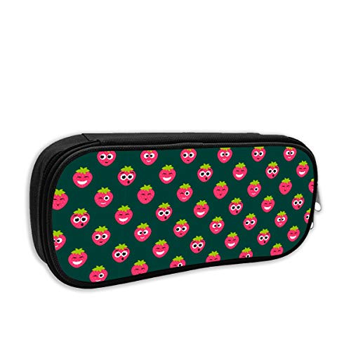 SARA NELL Pen Bag Pouch Red Strawberry Cute Faces Pencil Case Stationary Case Makeup Cosmetic Bag for Student Boys Girls