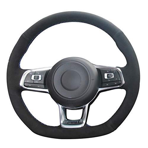 NFRADFM Cubierta del Volante del Coche de Cuero Negro DIY, para Volkswagen VW 7 GTI Golf R MK7 VW Polo GTI Scirocco 2015 2016 Piezas de automóvil