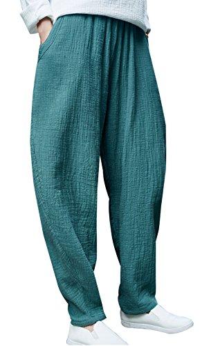 Happy Cherry - Pantalon Femme Casual Lin Pantalon Ample Large Conforte Cheville Étroite Pants avec Poches Yoga Sport Danse Élastique Taille Unique Vert